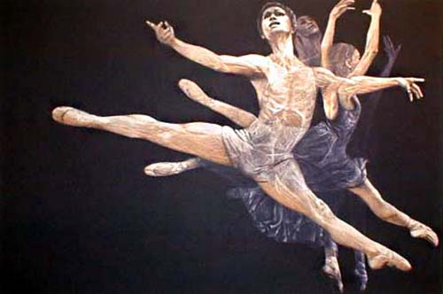 GH Rothe - Recital mezzotint print of dancers leaping