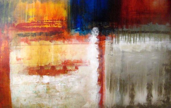 Josiane Childers Contemporary Oil Painting in Red White Blue Gold Yellow and Beige