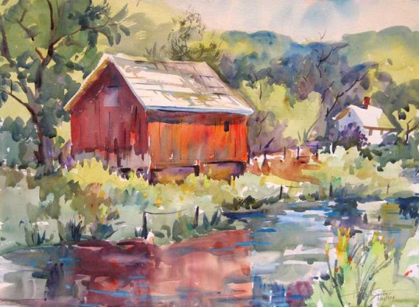 Peter Spataro painting of a red barn on a lake