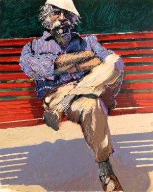 Aldo Luongo - Red Bench print of old man in a hat sitting with arms and legs crossed