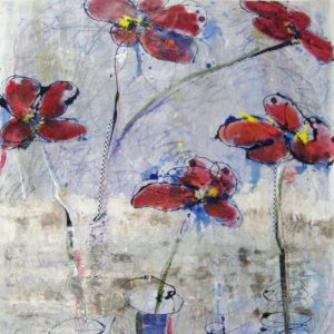 Helen Zarin Floral Still life with Red Flowers in Vase with Contemporary Periwinkle Blue Background