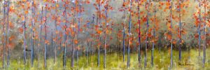 Jeff Koehn Contemporary Oil Painting on Canvas of Red Trees with Green Grass Forest