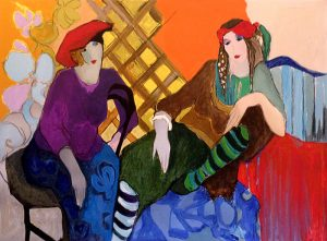 Itzchak Tarkay - Red Hats print of two women sitting wearing hats