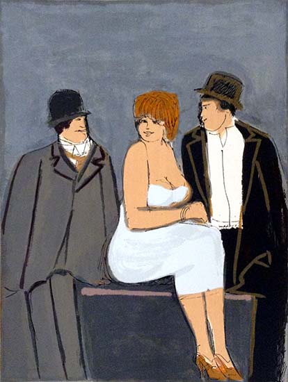 David Schneuer - Red Head print of a seated woman and two men