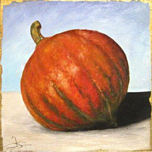 Janette Staley Small Still life Oil Painting of a Red Kuri Squash on Wood block