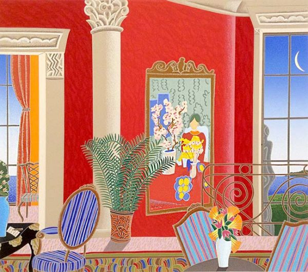 Thomas McKnight - Red Matisse print of room with chairs and large painting overlooking water