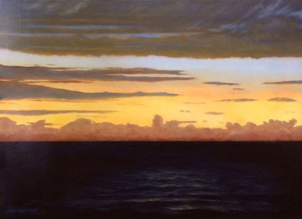 Ken Northup Contemporary Realism of Seascape Ocean Water Sunrise with Pink and Yellow Clouds