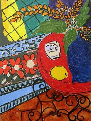 Kevin Bonnici painting Red Table with vase of flowers and lemon