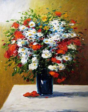 Gerhard Nesvadba - Red and White Bouquet oil painting on canvas Floral