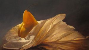 Lorena Pugh Reflections Oil Painting on Canvas of a Pear Fruit in Tissue Paper Like A Woman Draped Nude