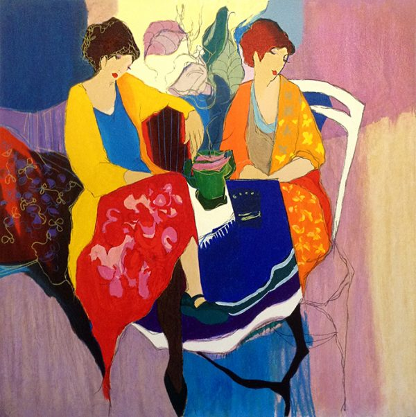 Itzchak Tarkay - Reflections print of two women sitting at a table
