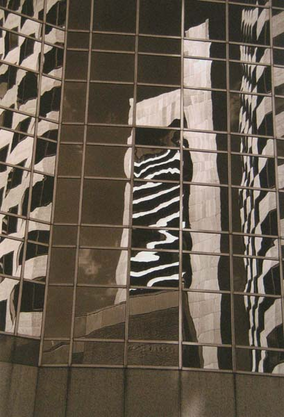 Vivian Avery - Reflections I sepia black and white Boston architecture photographs