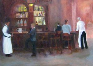 Pat Foster Oil on Canvas Bar Scene of People Socializing Over Cocktails at a Bar