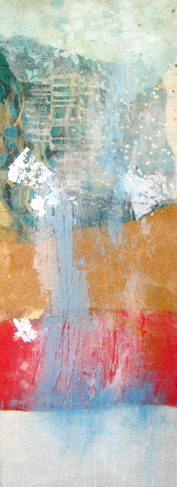 Paul Tiersky Abstract Mixed Media Resin Sculpture on Board in Red Blue and Orange