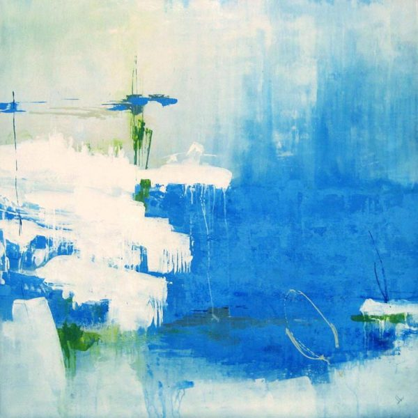 Joshua Schicker large contemporary blue abstract seascape painting with white and green