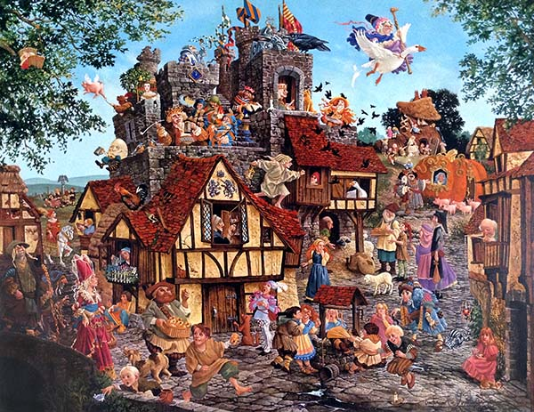 James Christensen - Rhymes and Reasons center panel of print of fairytale characters in a town square