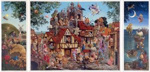 James Christensen - Rhymes and Reasons (3 panels) print of fairytale characters in a field, town square, and beach