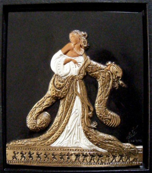 Erte Bronze Rigoletto Bas Relief Sculpture and Book