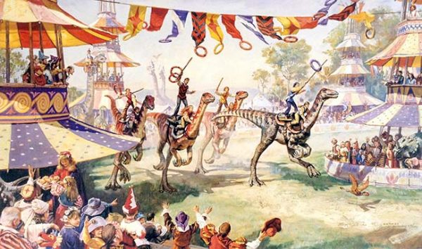 James Gurney - Ring Riders print of people riding dinosaurs to catch rings with an audience and tents