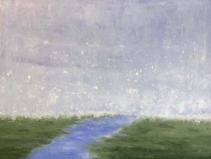Leah Mitchell Oil Painting on Canvas of Green White Blue River Marsh Scene on Canvas