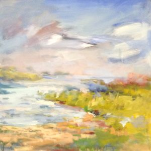 Trish Hurley Contemporary Landscape Oil Painting of a Quiet Cove River Bank