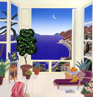Thomas McKnight - Riviera Conservatory print of terrace with lemon tree overlooking ocean