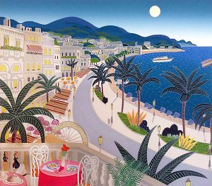 Thomas McKnight - Riviera Paradise print of dining terrace overlooking town and water