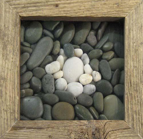 Ryan Penney Mixed Media Rock Sculpture in Drift Wood Frame