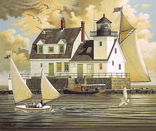 Charles Wysocki Print of Rockland Breakwater Lighthouse Maine in a folk art style