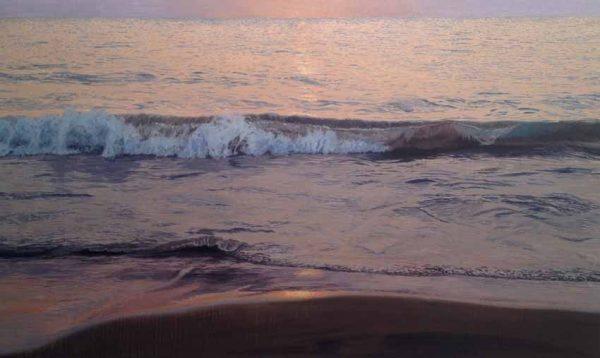Joseph Sampson Painting of wave crashing on the beach at dusk