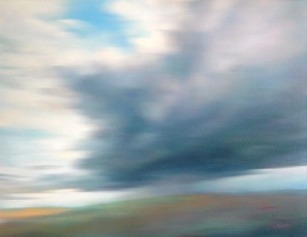 Don Scott MacDonald Original Oil Painting on Canvas of Blue Sky Meadow with Gray White Clouds