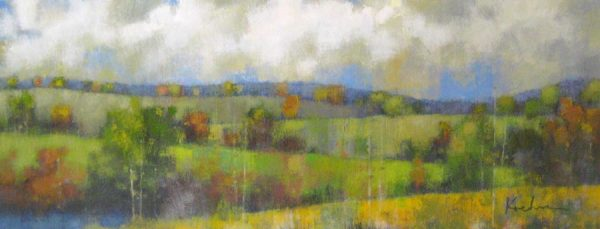 Jeff Koehn Contemporary Landscape Oil Painting of Green Rolling Hills Meadow Mountains