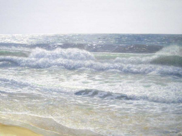 Phil Gidley Ocean Seascape Oil on Canvas of Waves on the Beach