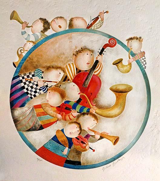 Graciela Boulanger - Rondo Bleu print of musicians in and around a blue circle