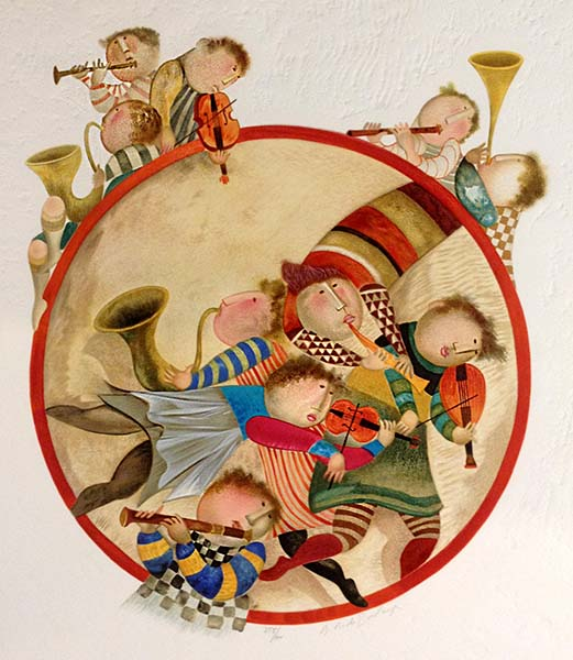 Graciela Boulanger - Rondo Rouge print of musicians in and around a red circle