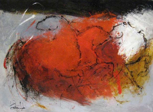 Marcelle Dube - Rouge et Cheveaux - Abstract painting of horses