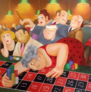 Beryl Cook - Roulette print of woman in red dress collecting chips at a casino while others watch