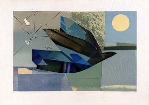 Max Papart - Royal Bird print of abstract bird with full moon
