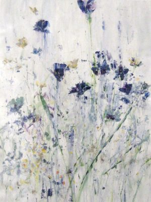 Jodi Maas Royal Blue Flowers Painting on Canvas with White Gray Neutral Contemporary Background