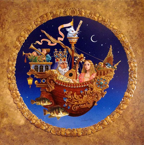 James Christensen - Royal Music Barque print of a king and princess on a flying boat with other characters playing instruments