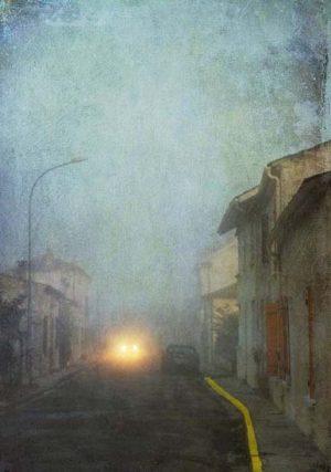 photograph of paris street at dusk
