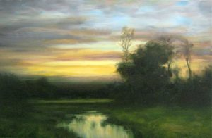 Dennis Sheehan Oil on Canvas Painting of Lush Meadow River Stream at Sunset