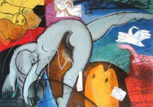 Michael Leu - Russian Swans & Goldfish (19x27 lithograph on paper)