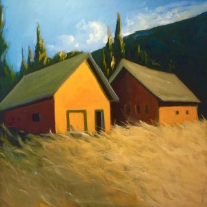 Karen Jones Barn Painting with Green Roof and Maroon and Grass