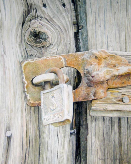 Walter Kessel Pen and Ink on paper of lock and latch on wood barn door