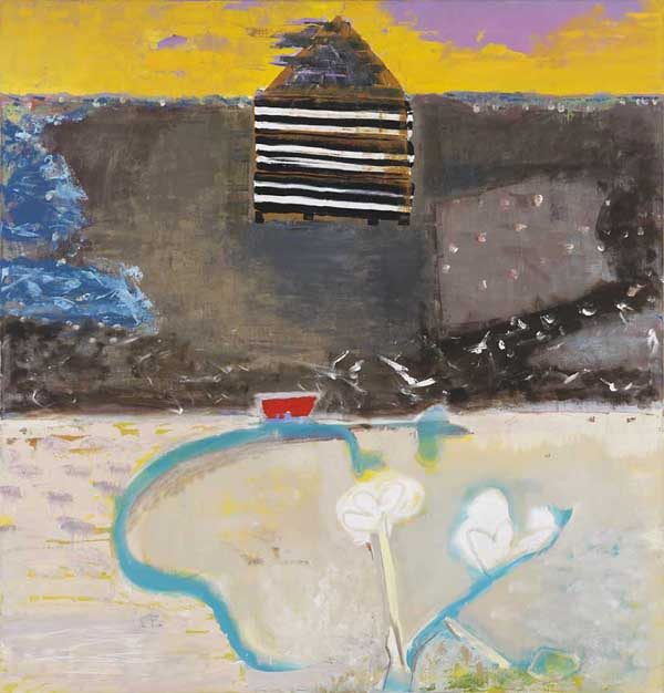 Carolyn Evans - Singing River - Abstract painting of a house near a river