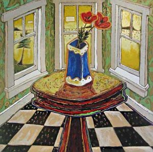 Alison Goodwin - Bay Window - Serigraph of a table with flowers and windows