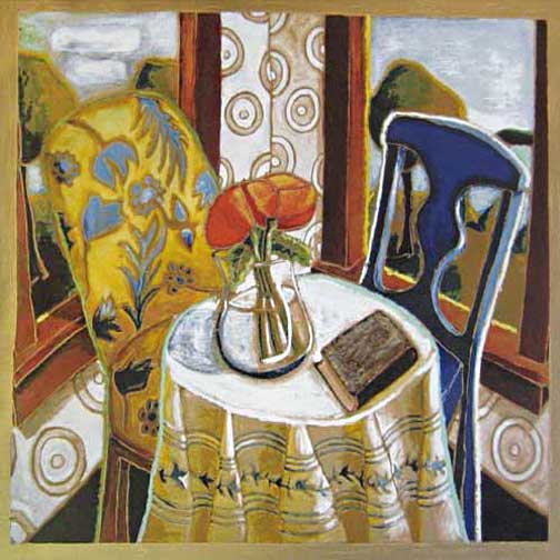 Alison Goodwin - Poppies serigraph if two chairs at a table with flowers in a vase and a book