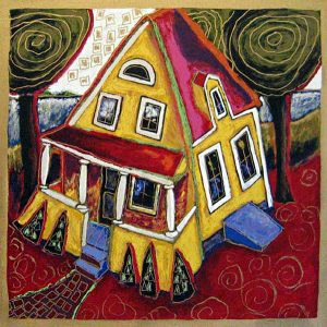 Alison Goodwin - Evan's House - Serigraph of a house with trees