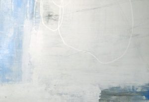 Joshua Schicker Abstract White with Blue and Gray Minimal